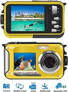 防水カメラ デジカメ 防水 デジタルカメラ 水中カメラ フルHD 1080P 24.0MP スポーツカメラデュアルスクリーン オートフォーカス デジカメ 水に浮く