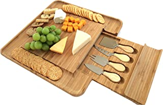 100% Bamboo Cheese Board with Cutlery Set   Wooden Serving Platter with Slide-out Drawer & 4 Piece Stainless Steel Serving Set   Novelty Housewarming, Wedding Gift Idea   Premium New Design BPA Free
