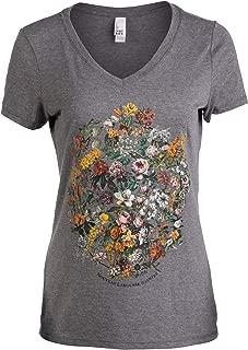 Vintage Floral Art | 1900s French Flowers Fleur Gardener V-Neck T-Shirt for Women