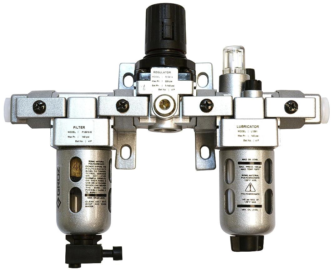 Groz 60550 Air Filter - Regulator - Lubricator, Modular 3 Piece, Polycarbonate Bowl, Miniature-1/4