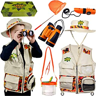 Safari Kidz - Complete Outdoor Adventure Set. Perfect Safari, Hunting, Park Ranger Costume with Vest, Hat, Binoculars, Bug...