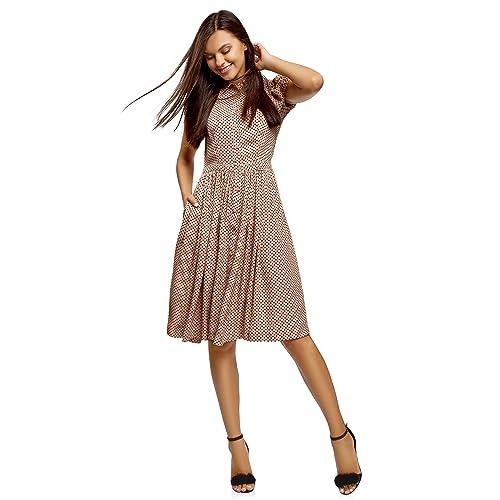 oodji Ultra Mujer Vestido Midi con Falda Acampanada