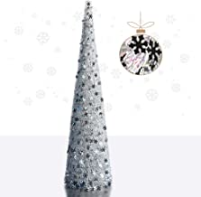 YuQi 5' Colorful White Pop-Up Artificial Christmas Tree,Collapsible Pencil Christmas Trees for Apartments,Dorm Rooms,Firep...