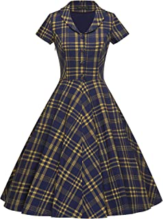 GownTown Women's 1950s Vintage Plaid Swing Dress with Pockets