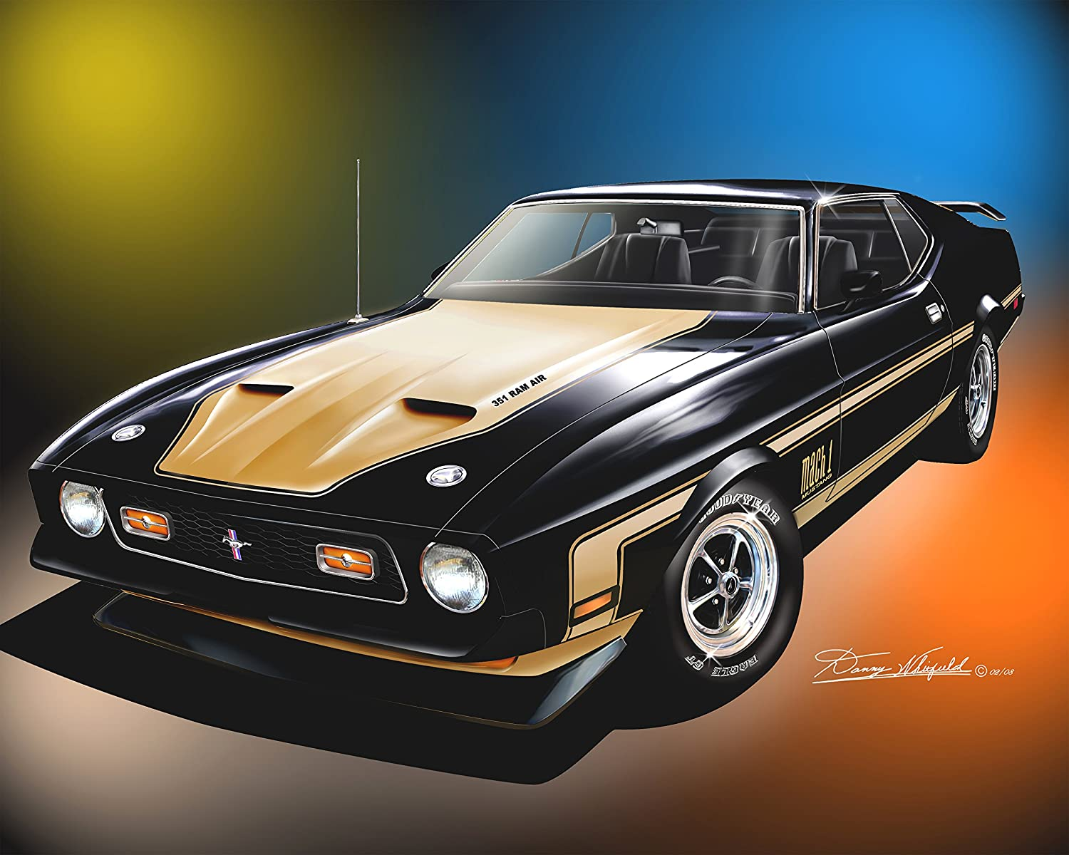 Amazon Com 1971 1972 Mustang Mach 1 Raven Black Art Print Poster By Artist Danny Whitfield Size 20 X 24 Posters Prints