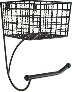 Home Traditions Z02242 Rustic Wall Mount Toilet Tissue Paper Roll Holder and Dispenser Basket for Bathroom Storage, Black
