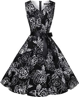 Vintage Tea Dress 1950's Floral Spring Garden Retro Swing Prom Party Cocktail Dress for Women