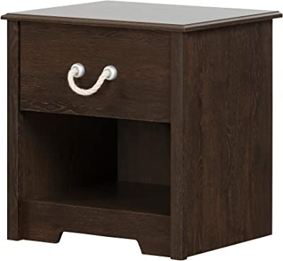 South Shore Aviron 1-Drawer Nightstand, Brown Oak with Rope Handle
