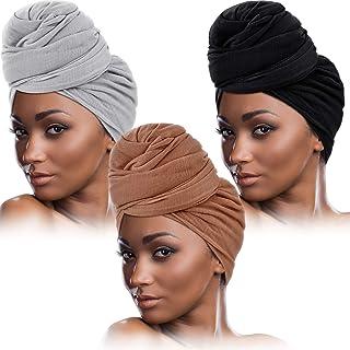 3 Pieces Women Stretch Head Wrap Scarf Stretchy Turban Long Hair Scarf Wrap Solid Color Soft Head Band Tie (Black, Gray, B...