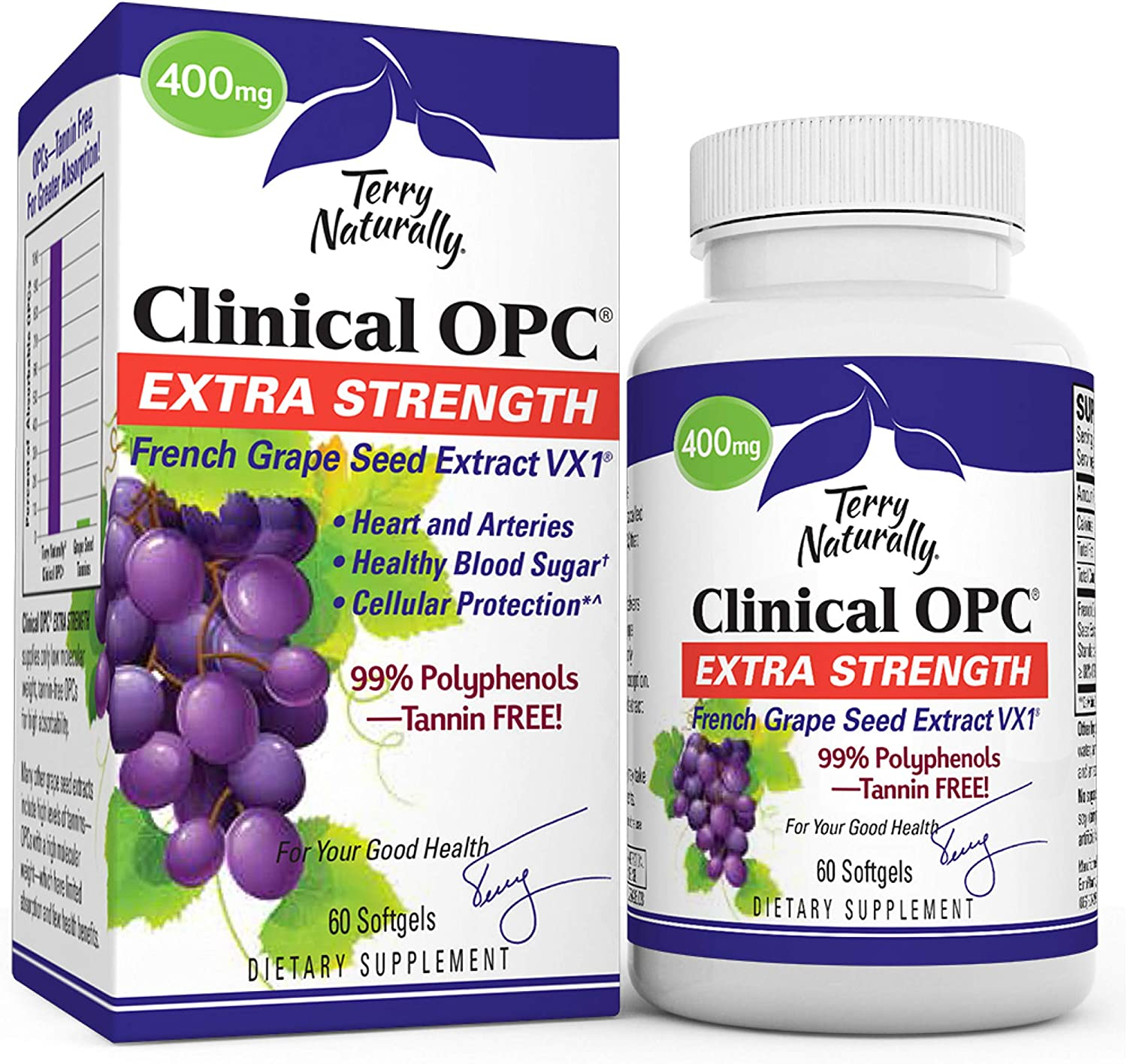 Terry Naturally Clinical OPC Extra Strength - 60 Softgels - French Grape Seed Extract Supplement, Supports Heart & Immune Health, Antioxidant - Non-GMO, Gluten-Free, Kosher - 60 Servings