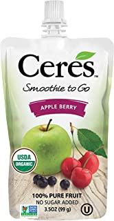 Ceres Organic Smoothies To Go Pouches | 100% Organic Fruit Smoothie Squeeze Packs | No Added Sugar, Non GMO, Gluten Free | 100% Pure Fruit Apple Berry Flavor, 3.5 OZ (Pack of 6)