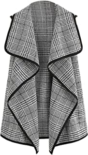 Women's Plus Plaid Contrast Trim Waterfall Collar Open Front Sleeveless Jacket Cardigan