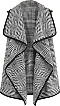 Romwe Women's Plus Plaid Contrast Trim Waterfall Collar Open Front Sleeveless Jacket Cardigan
