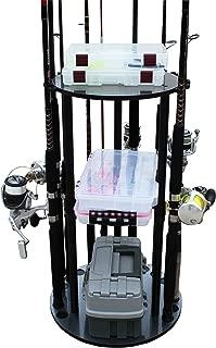 Rush Creek Creations 17 Spinning Fishing Rod/Pole Storage Utility Box Organizer Floor Rack - Features Heavy Duty Adjustable Wire Shelf