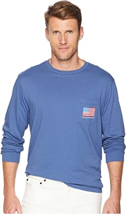 Long Sleeve American Flag Pocket Tee