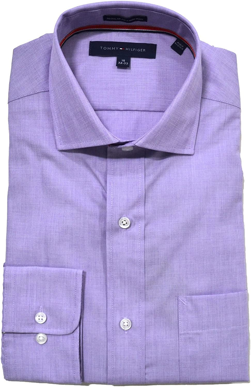 Tommy Hilfiger Mens Regular Fit Dress Shirt in Purple Heart