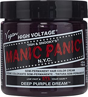 Manic Panic Deep Purple Dream Hair Dye – Classic High Voltage - Semi-Permanent Hair Color - Blackberry, Purple Shade - For...