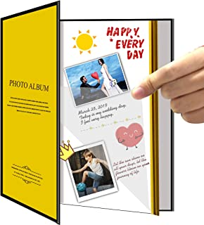 Zoview Art Magnetic Self-Stick Page Photo Album for Wedding or Family, Hand Made DIY Albums Holds 3X5, 4X6, 5X7, 6X8,8X10 Photos, A52053 (Golden)