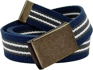 Boy's School Uniform Distressed Gold Flip Top Buckle with Adjustable Canvas Web Belt