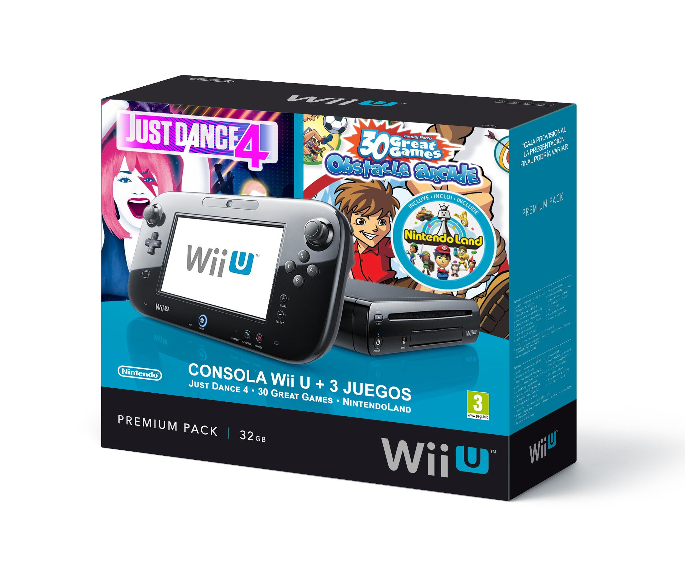 Nintendo Wii U - Premium Triple Pack Consola De 32 GB, Color Negro: Amazon.es: Videojuegos