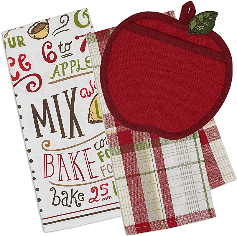 Life On The Lane Apple Kitchen Decor Set Apple Potholder And 2 Matching Kitchen Dish Towels