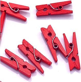 10 Petites Mini Pinces à Linge en Bois Couleurs Fournitures Attache Clip Miniature (Rouge)