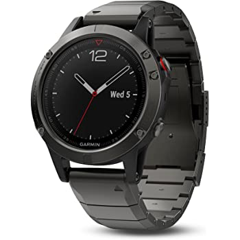 Garmin fēnix 5, Premium and Rugged Multisport GPS Smartwatch, Sapphire Glass, Slate Gray w/ Metal Band