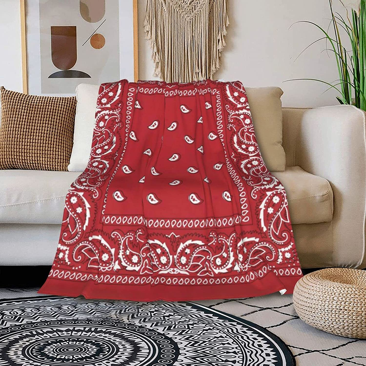 Genuine ONE TO PROMISE Ethnic Pattern of Print Frame Bandana Red Blanket Super sale