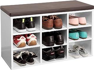 RICOO WM035-W-B Banco Zapatero 79x49x30 Armario Interior con Asiento Organizador Zapatos Mueble recibidor Perchero E...