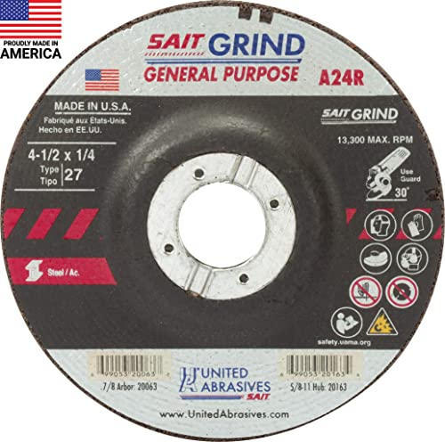 """2021 United Abrasives-SAIT 20063 A24R General Purpose/Long Life Grinding Wheel (Type 27/Depressed Center) new arrival 4 1/2"""" x 1/4"""" popular x 7/8"""", 25-Pack online sale"""