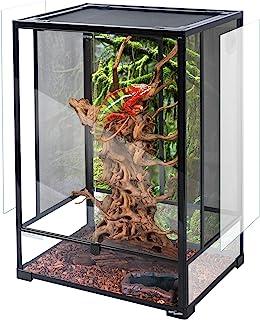 "REPTI ZOO 24"" x 18"" x 36"" Reptile Tall Glass Terrarium Rainforest Habitat Double Hinge Door with Screen Ventilation Reptil..."
