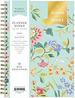 "Day Designer for Blue Sky 2020-2021 Academic Year Weekly & Monthly Planner Notes, Flexible Cover, 5.8"" x 8.6"", Climbing Floral Mint"