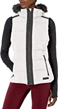 Calvin Klein Women's Quilt Walker Vest with Faux Fur Trim Detachable Hood