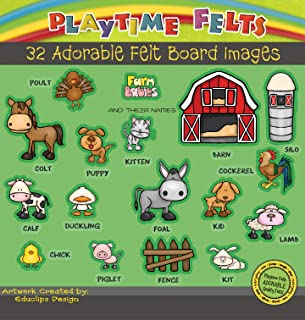 Playtime Felts Farm Babies and Their Names - Fun Flannel Board Story Set with 32 Pieces and Story Script