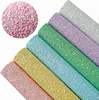 AOUXSEEM Chunky Glitter Sequins Fabric Faux Leather Sheets【6 Pcs/A4 Size】Gorgeous Synthetic Craft Fabric Thick Canvas Back for DIY Earrings Bows Jewelry Making,21 cm x 30 cm(8