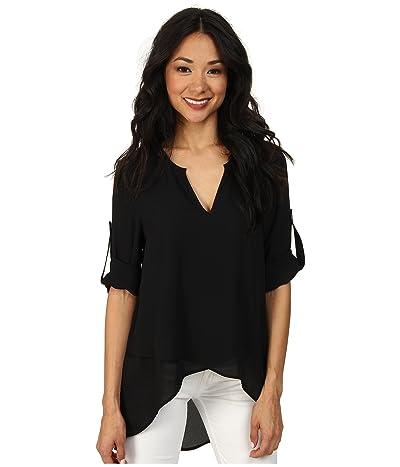 Karen Kane Asymmetrical Hem Wrap Top (Black1) Women