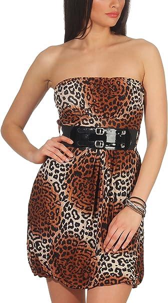 Stylelightone Damen Bandeau Kleid Leopard Stretch Cocktail Gurtel Raffung Stretch Etui Mini Kurz Braun 36 38 40 Amazon De Bekleidung