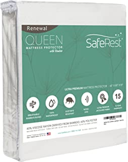 SafeRest Renewal Bamboo Derived Viscose Rayon Mattress Pad Protector Cover - Waterproof, Breathable, Hypoallergenic, Vinyl...