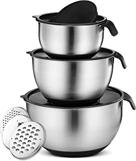 Klee 9-Piece Non Slip Stainless Steel Mixing Bowls with Airtight Lids and Grater Attachments, Set of 3 (Black)