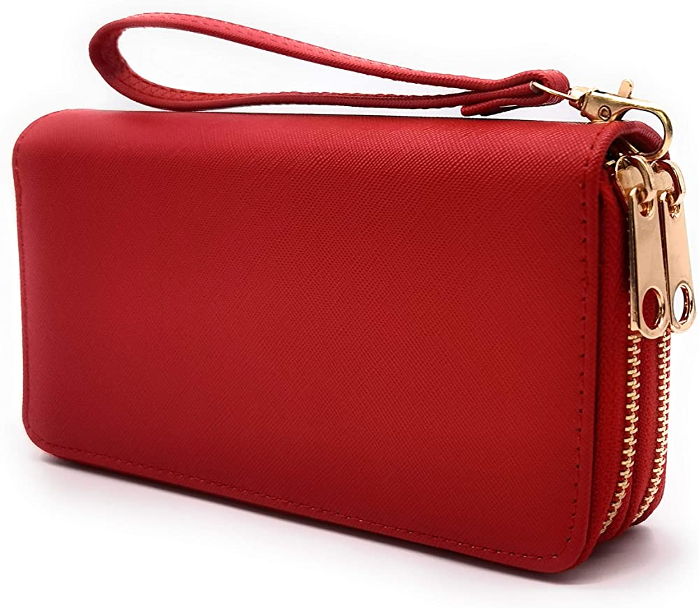 Eliox, portafoglio da donna, con portamonete, porta carte di credito, in pelle sintetica, rosso 2