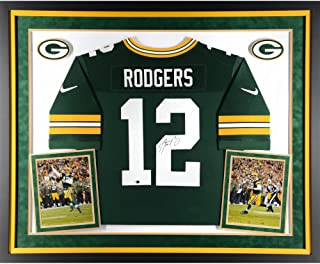 Aaron Rodgers Green Bay Packers Deluxe Framed Autographed Nike Green Elite Jersey - Fanatics Authentic Certified