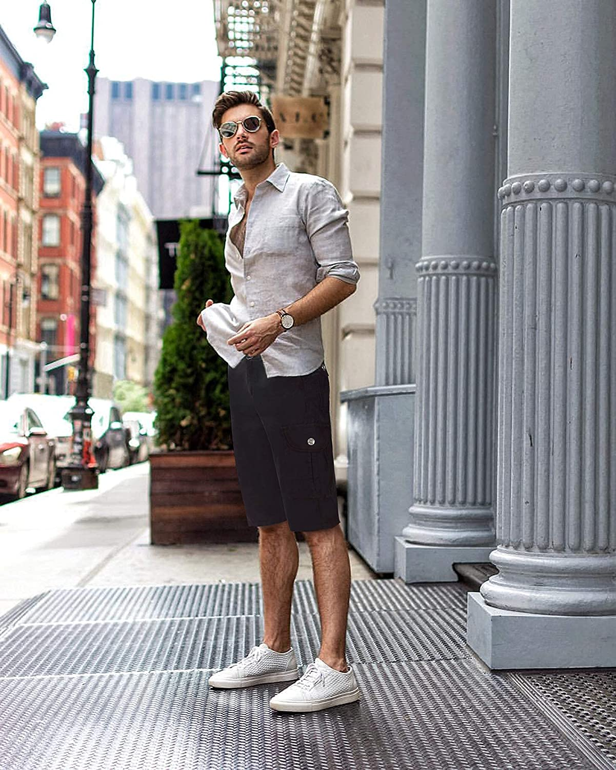 RAW X Mens Belted Cargo Shorts Relaxed Fit Casual Tactical Knee Length Cargo Shorts for Men
