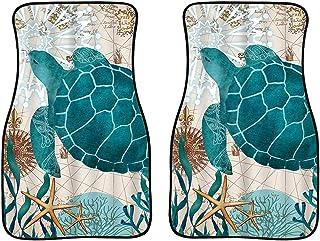 JOAIFO Retro Blue Sea Turtle Carpet Floor Mats for Car Sedan SUV Truck 2 Pcs Undersea Animal Ocean Starfish Seaweed Print ...
