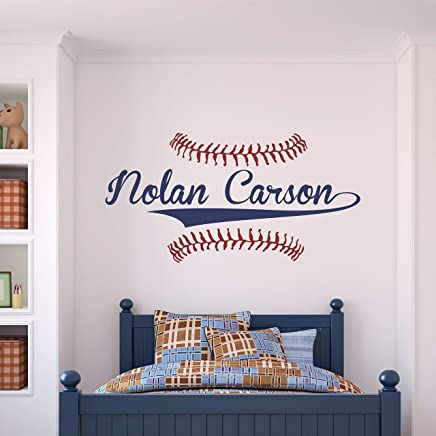 Custom Name Baseball Wall Decal - Boys Personalized Name Baseball Wall Sticker - Custom Name Sign - Custom Name Stencil Monogram - Boys Room Wall Decor …