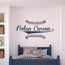 Custom Name Baseball Wall Decal - Boys Personalized Name Baseball Wall Sticker - Custom Name Sign - Custom Name Stencil Monogram - Boys Room Wall Decor …