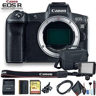 Canon EOS R Mirrorless Digital Camera International Model (3075C002) W/Bag, 128 GB Memory Card, LED Light and More