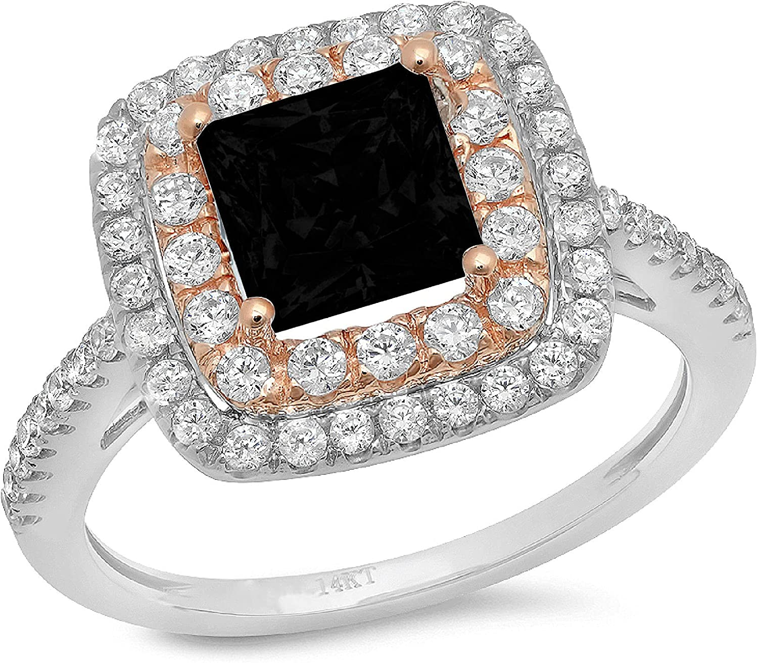 Clara Pucci 2.46 ct Princess Cut Double Halo Solitaire Accent Stunning Genuine Flawless Natural Black Onyx Gem Designer Modern Statement Ring Solid 18K 2 tone Gold