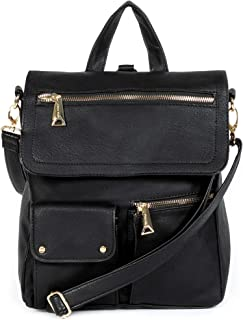 Women's Vegan Leather Convertible Backpack Purse Water Resistant