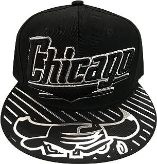 Chicago New Leader Bull Head Chrome Shine Bulls Luxe Colors Black Silver Era Snapback Hat Cap
