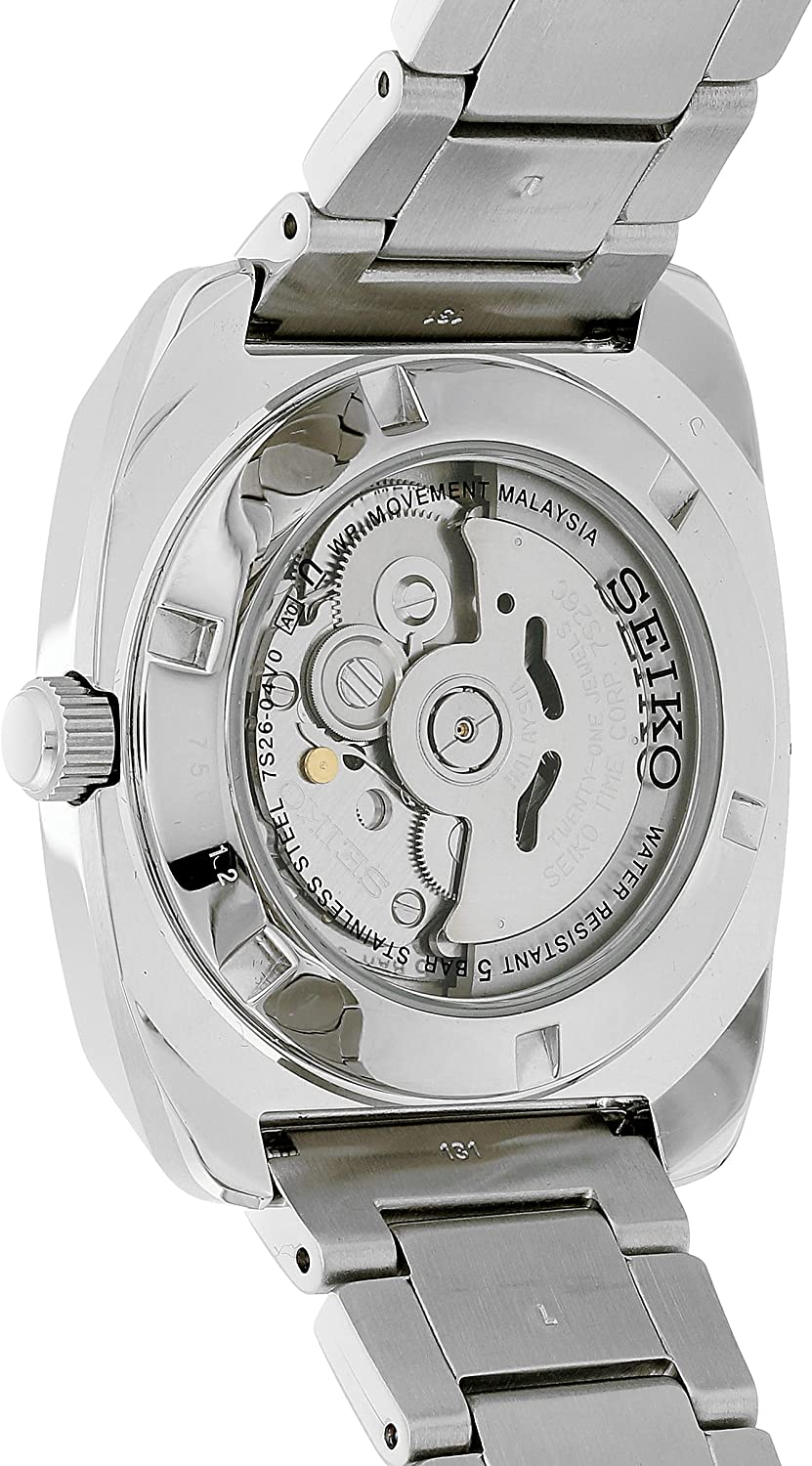 Seiko Mens RECRAFT Series Stainless Steel Automatic-self-Wind Watch with Stainless-Steel Strap, Silver, 21 (Model: SNKP23)